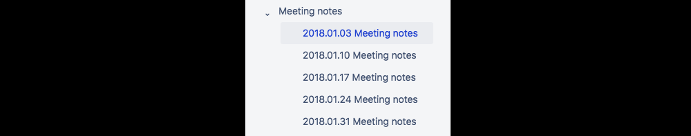 List of the meeting notes